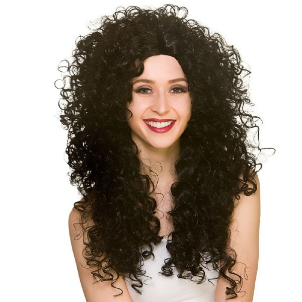 Adults Ladies Long Curly Wig Fancy Dress 80s Yuppie Perm Accessory